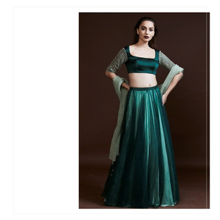 classic blouse , tulle skirt and dupatta