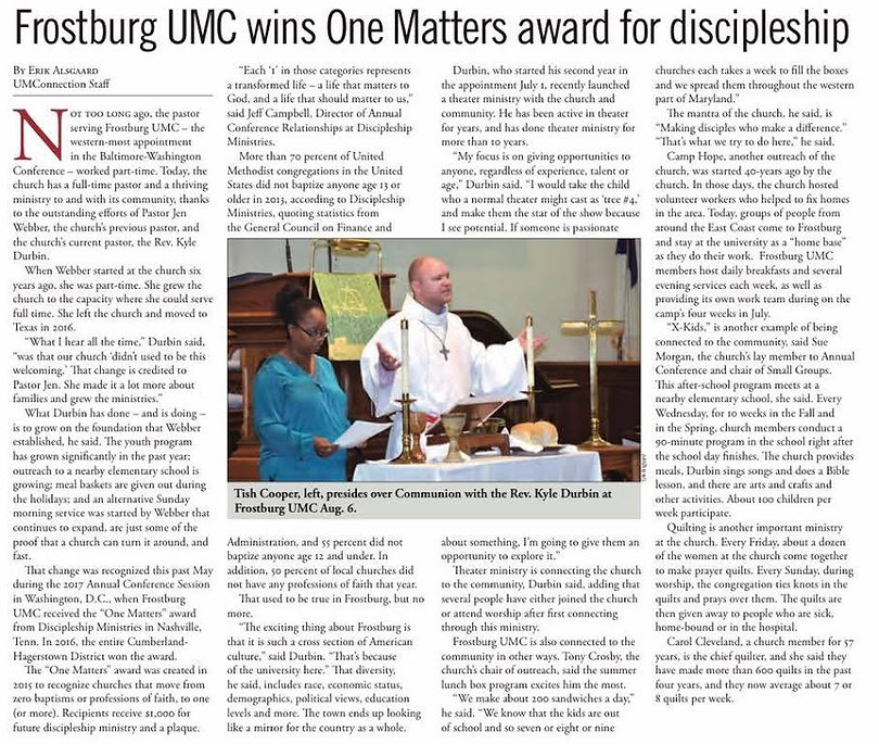Frostburg UMC- One Matters Award / UMConnection Article