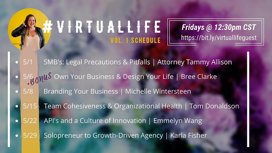VIRTUALLIFE schedule