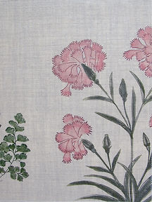 Mughal Meadow Pink on Natural Linen Incredible India Range, Botanica Trading
