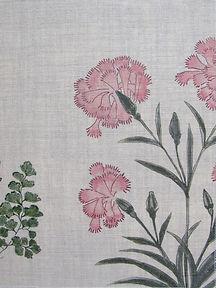 Mughal Meadow Pink on Natural Linen Incredible India Range, Botanica Trading