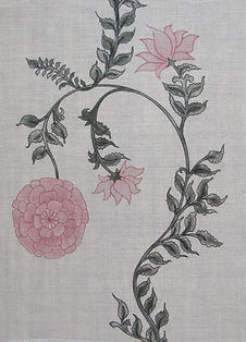 Pink Poppy Stripe on Natural Linen Incredible India Range, Botanica Trading