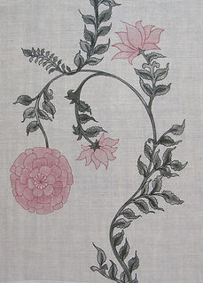Pink Poppy Stripe on Natural Linen Incredible India Range, Botanica Trading