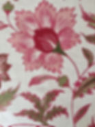 Pink Floral Scroll on natural linen, Botanica Trading Textiles