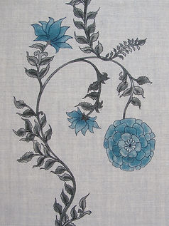 Blue Poppy Stripe on Natural Linen Incredible India Range, Botanica Trading