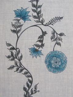 Blue Poppy Stripe on Natural Linen Incredible India Range, Botanica Trading