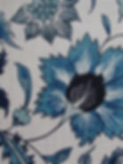 Blue Floral Scroll on natural linen, Botanica Trading Textiles