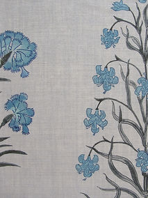 Mughal Meadow Blue on Natural Linen Incredible India Range, Botanica Trading