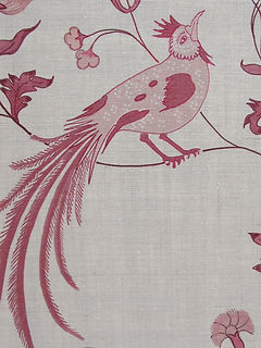Bird Song Pink On Natural Linen, Incredible India Range, Botanica Trading