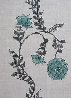 Green Poppy Stripe on Natural Linen, Incredible India Range, Botanica Trading