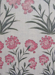 Mughal Mughal Meadow Miniature Pink on Natural Linen, Incredible India Range, Botanica Trading