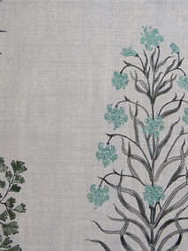Mughal Meadow Green on Natural Linen Incredible India Range, Botanica Trading