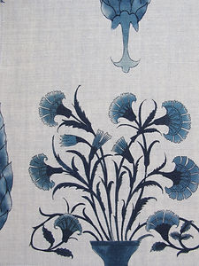 Petrol Blue Paradise Garden on Natural Linen,Incredible India Range, Botanica Trading
