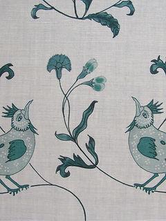 BIRD SONG GREEN ON NATURAL LINEN, INCREDIBLE INDIA RANGE, BOTANICA TRADING