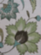 Green Floral Scroll on natural linen, Botanica Trading Textiles
