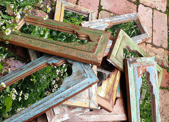 Indian Old Window Framed Mirror