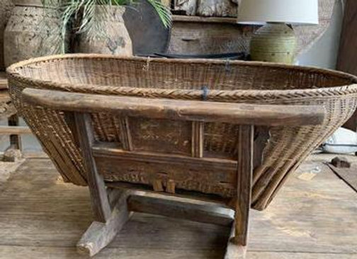 Chinese Antique wicker cradle