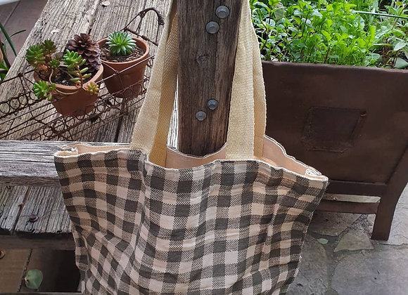 Gingham Army Tote