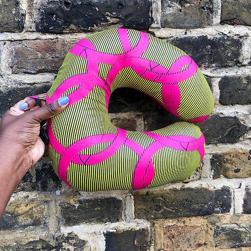 Pink/Yellow African Print Travel/Neck Pillow