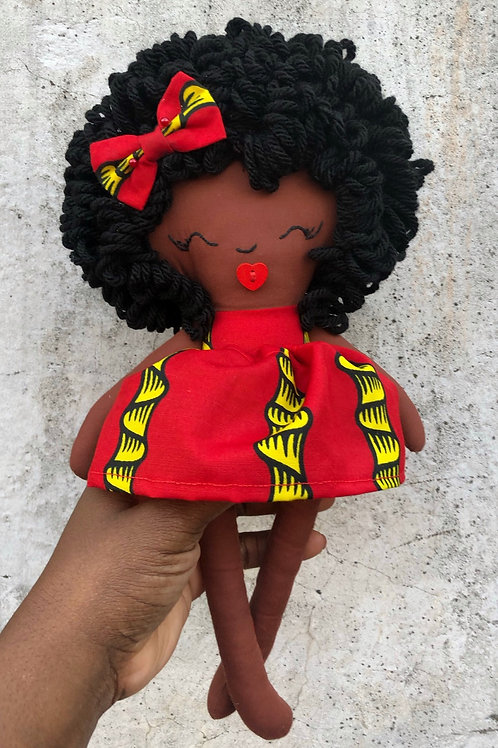 African Print Medium Sized Rag Doll (RED SOLD OUT yellow and pink available )