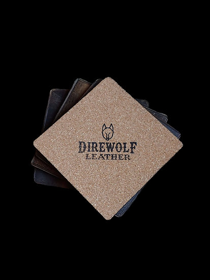 Waxed Leather Coasters w/Heat Crease (Set of 4)