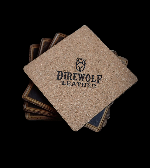Waxed Leather Coasters w/Edge Trench (Set of 4)