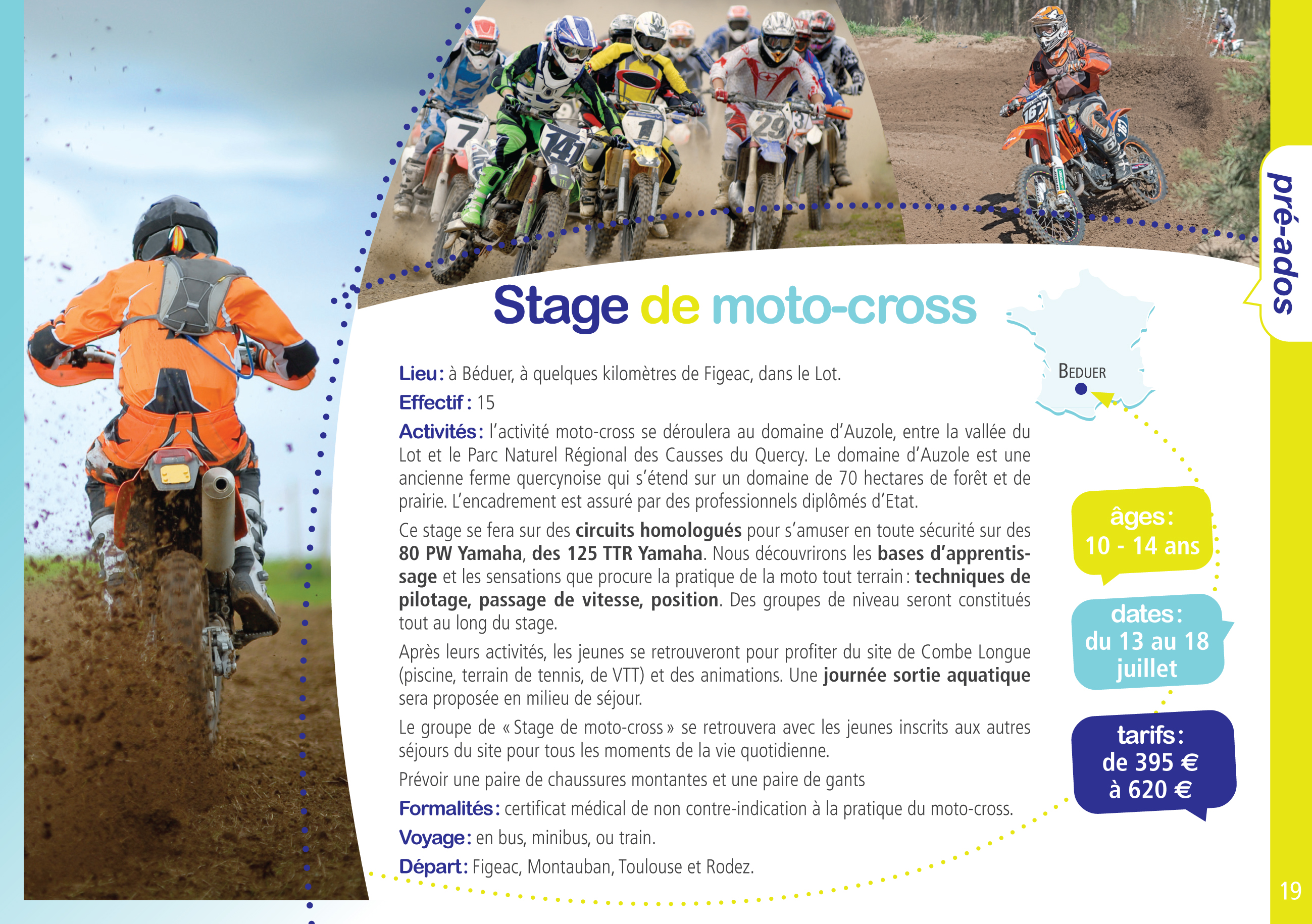 stage de moto cross