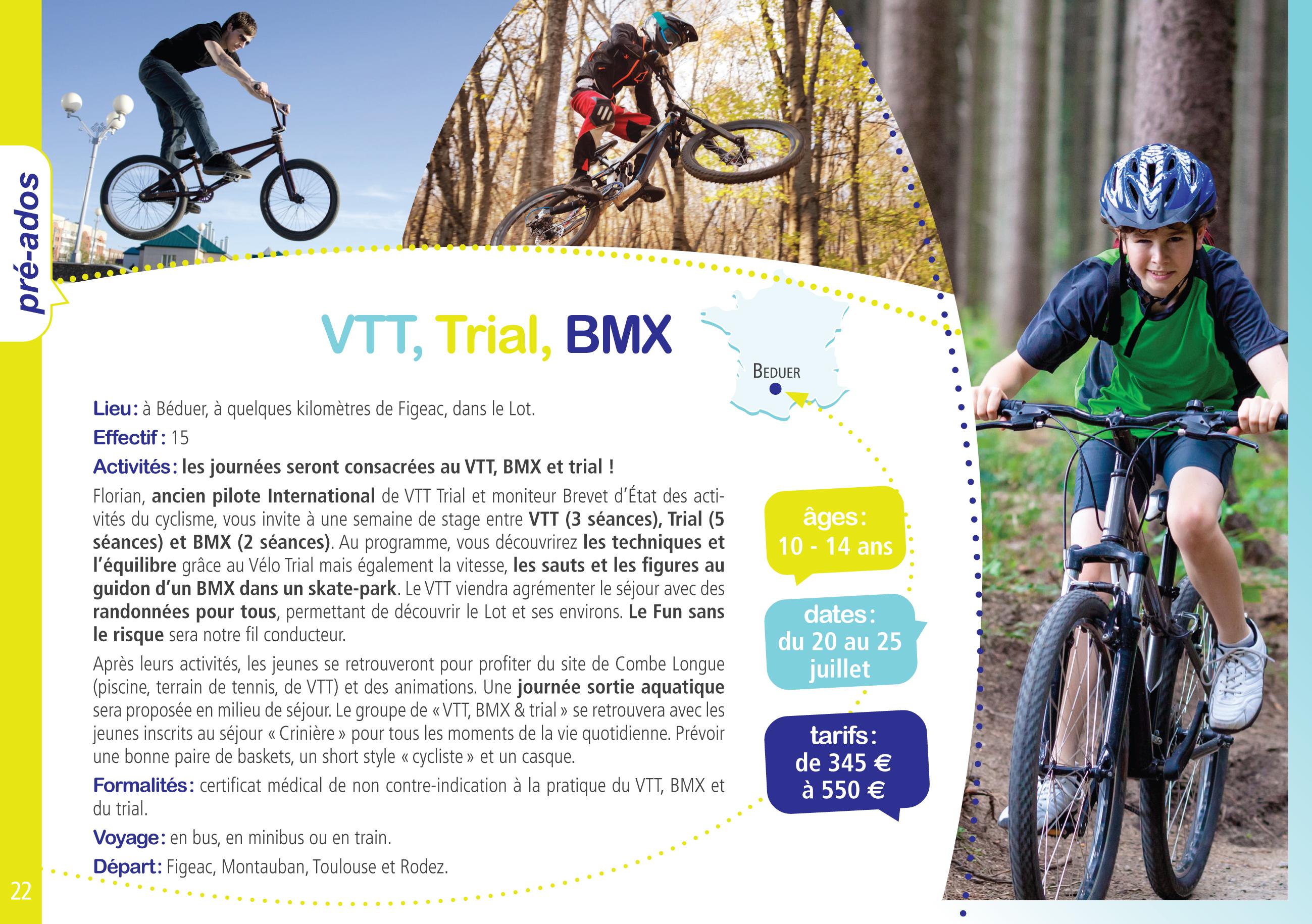 vtt trial et bmx