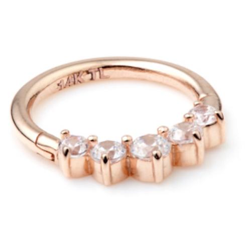 Diamond 14ct Rose Gold Front Facing Ring