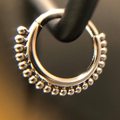 Titanium Beaded Hinged Ring
