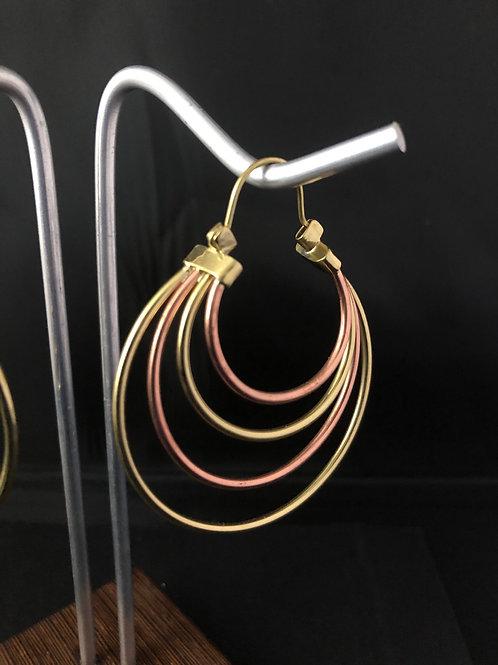 Copper & Brass bands - hoop earrings
