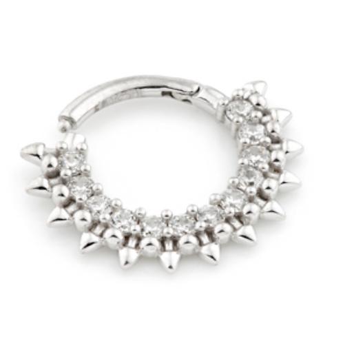 14ct White Gold Pavé Gems Daith Septum Ring