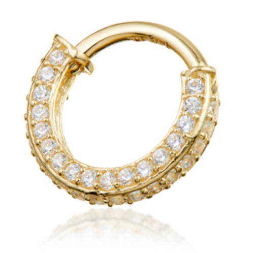 14ct Yellow Gold Double Sided CZ Hinged Ring