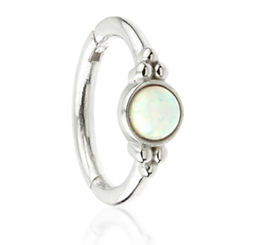 14ct Gold Tri-Dot Ring with Opal