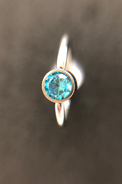Aqua Blue Cz Captive Ring