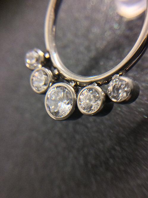 5 Stone Cubic Zirconia Titanium Hinged Segment Ring