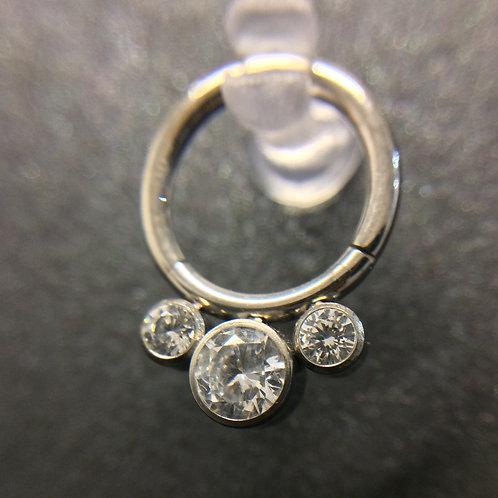Triple Cubic Zirconia Titanium Hinged Segment Ring