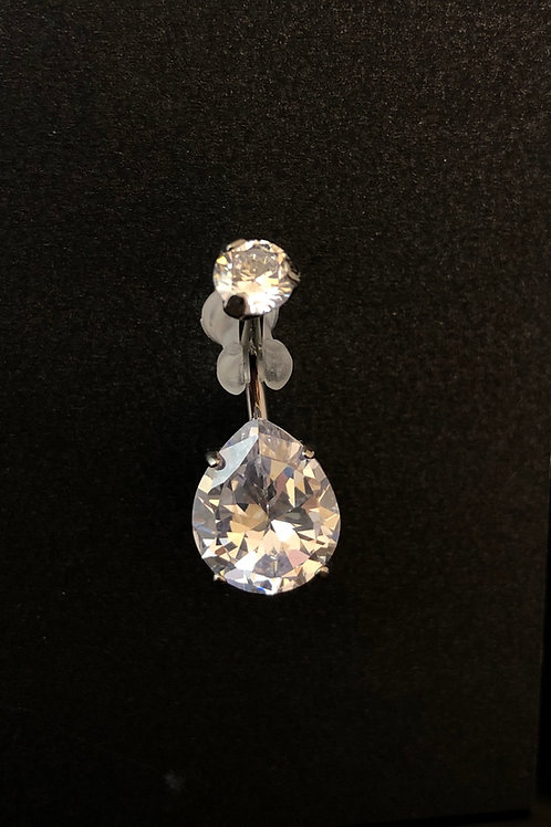 Large Cubic zirconia Teardrop Belly/Navel Bar