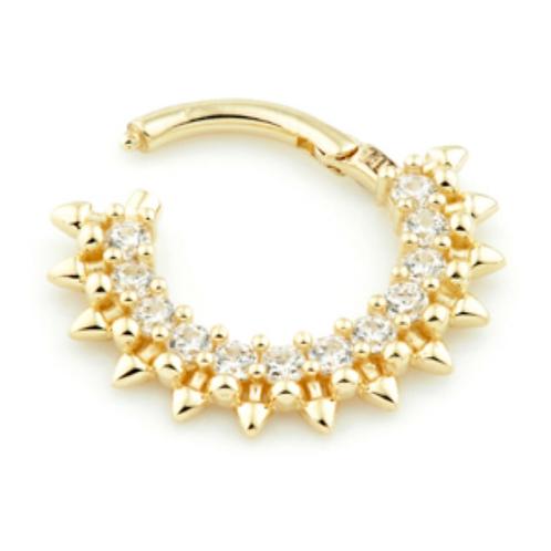 14ct Yellow Gold Pavé Gems Daith Septum Ring
