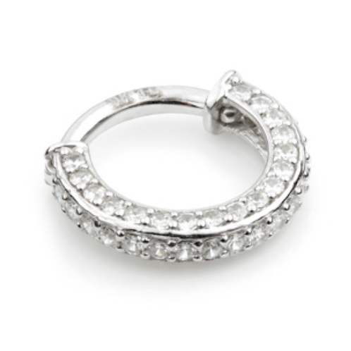 14ct White Gold Double Sided Pave Ring
