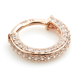 14ct Rose Gold Double Sided Pave Ring