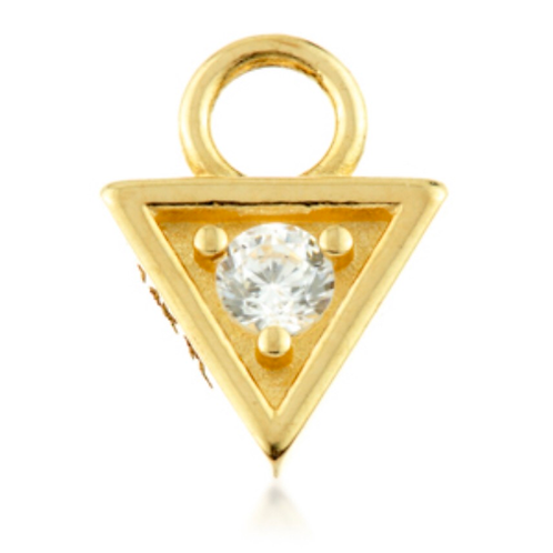 Triangle Gold charm with Gem
