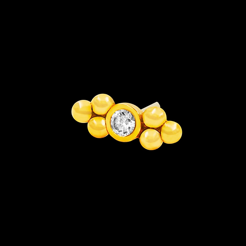 Double Cz set Tri-Bead 14ct Gold End
