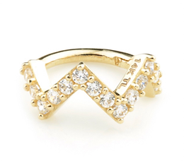 14ct Gold CZ Pavé Zig-Zag Hinged Ring