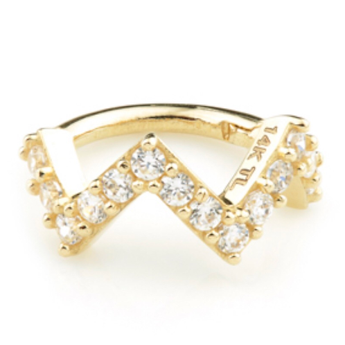14ct Gold CZ Pavé Zig-Zag Hinged Ring