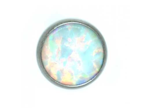 14g White Opal Flat Threaded End