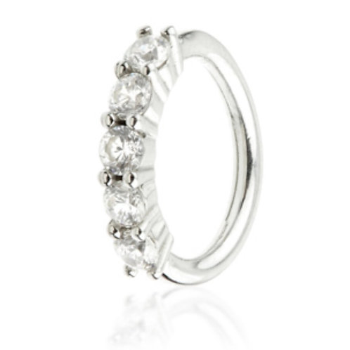 White 14ct Gold Multi Set Seam Ring