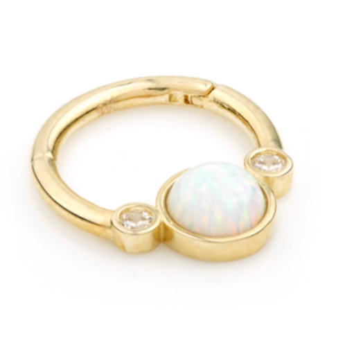 14ct Solid Gold Opal & CZ Hinge Ring