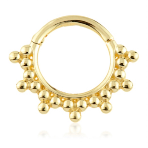 14ct Yellow Gold Tribal Ball Hinge Ring