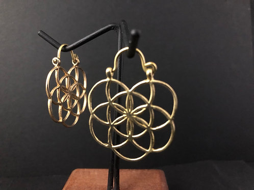 Geometric circle brass earrings